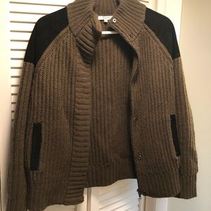 Madewell sweater jacket with elbow/shldr patch med
